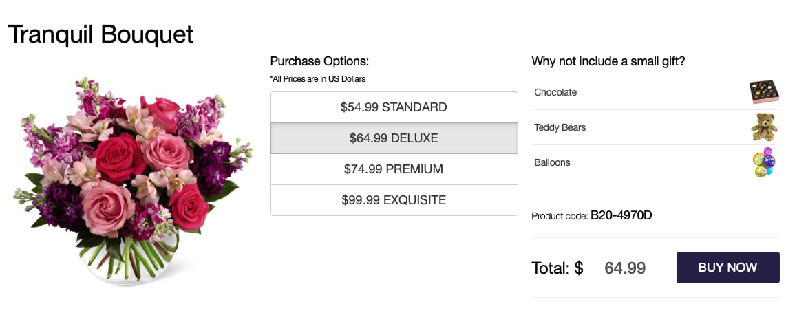 Florist cross sell on a product page