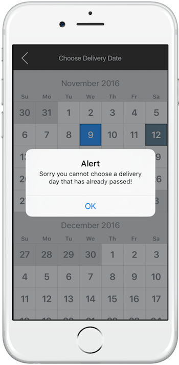 iPhone App - Choose Delivery Date - Blocked dates